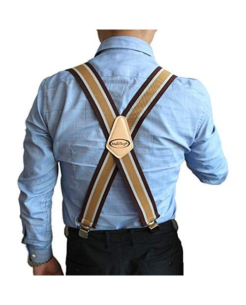 """Mens Suspenders 2"""" Wide Adjustable and Elastic Braces X Shape with Very Strong Clips - Heavy Duty (Brown Strip) …"""
