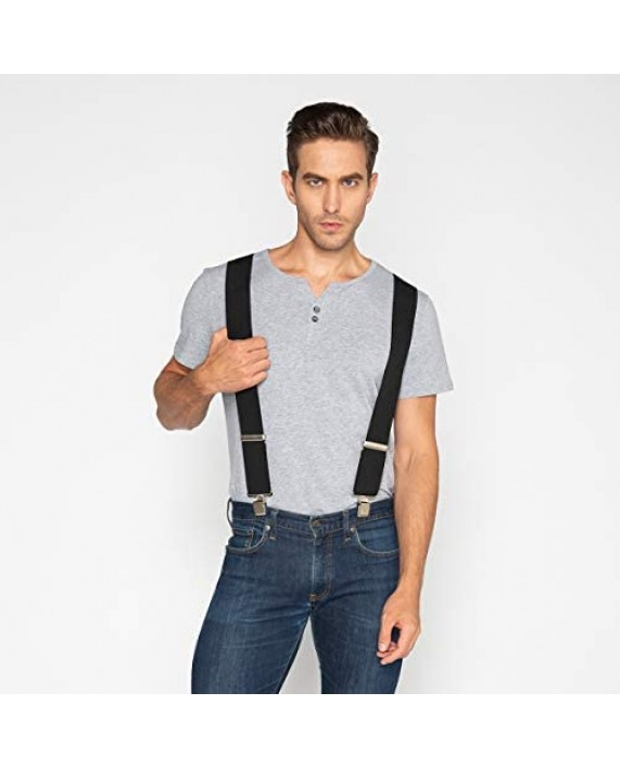 Suspenders for Men with Heavy Duty Clip Wide X-Back for Work