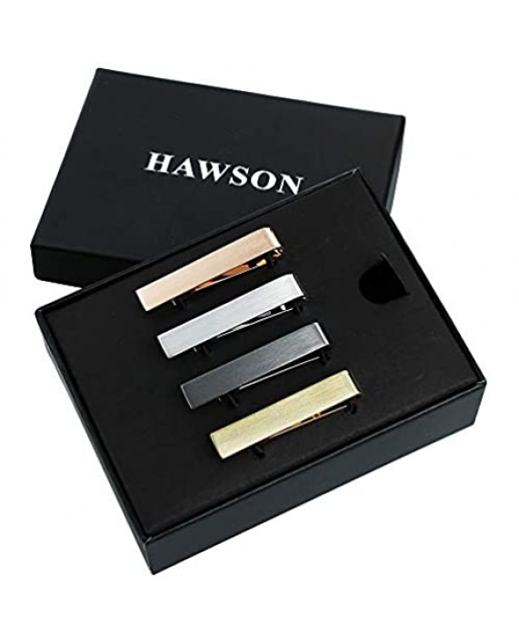HAWSON 1.5 Inch Tie Clips for Men Initial 4Pcs Tie Bar Personalized Suitable for Wedding Anniversary Business and Daily Life-Best Gifts for Skinny Tie