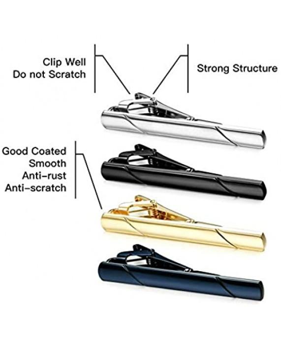 MOZETO Tie Clips for Men Black Gold Blue Gray Silver Tie Bar Set for Regular Ties Luxury Box Gift Ideas