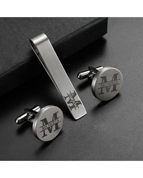 ZUNON Mens Groom Father Wedding Silver Plated Black Tie Clips Pack of 2