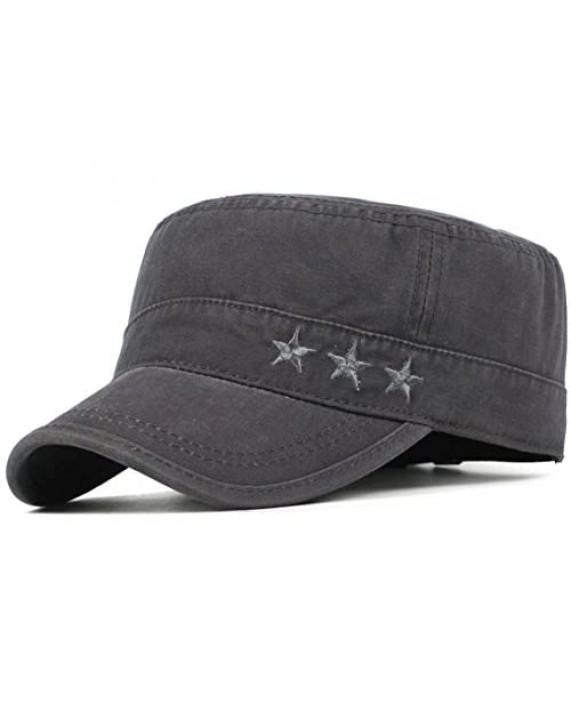 2 Pack Men's Cotton Military Caps Cadet Army Caps Vintage Flat Top Cap