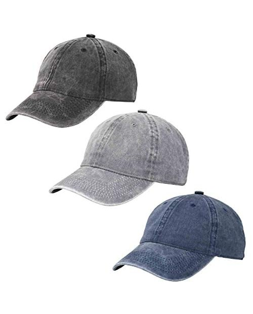 3 Pack Vintage Washed Cotton Adjustable Baseball Caps Men and Women Unstructured Low Profile Plain Classic Black Dad Hat