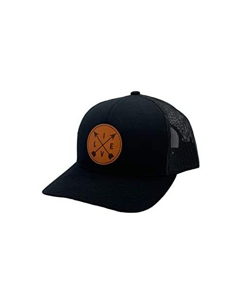 Apollo Cap Co. Trucker Cap - Leather Live Circle Patch Hat - Snapback Closure - Mid Profile Crown - Great for Men and Women!