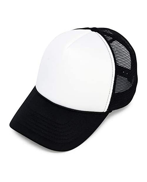 DALIX Two Tone Trucker Hat Summer Mesh Cap with Adjustable Snapback Strap