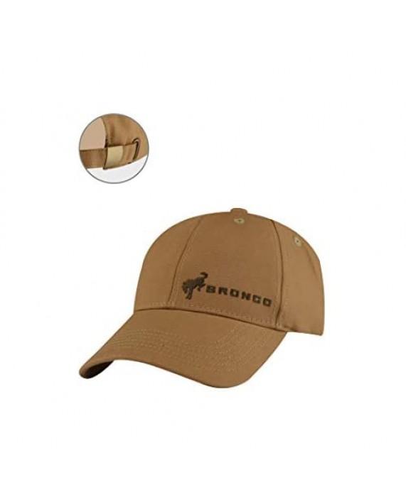 Ford Bronco Baseball Cap Adjustable 6 Panel Duck Cloth Hat Brown