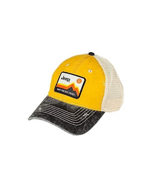 Jeep Have Fun Out There Patch Garment Washed Trucker Hat Unstructured Yellow