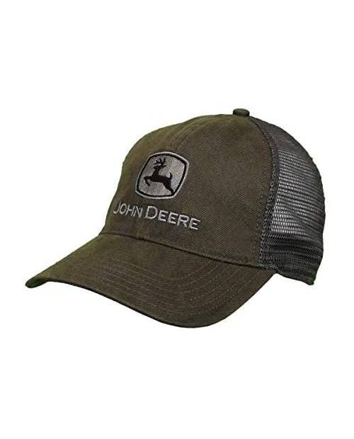John Deere Oilskin Mesh Hat W/Silver Logo Drab Green Grey/White One Size