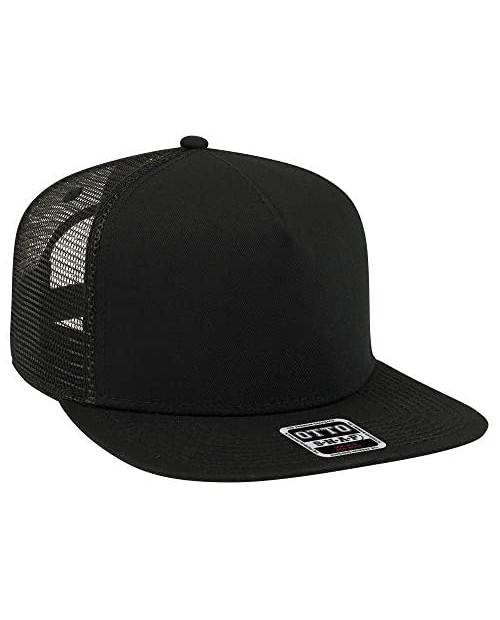 Otto Square Flat Visor SNAP 5 Panel Mesh Back Trucker Snapback Hat