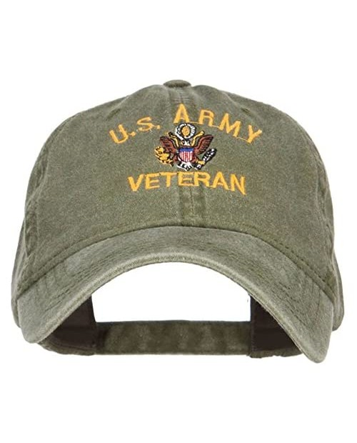 Otto:e4Hats US Army Veteran Military Embroidered Washed Cap - Olive OSFM