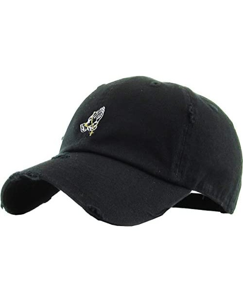 Praying Hands Rosary Savage Dad Hat Baseball Cap Unconstructed Polo Style Adjustable