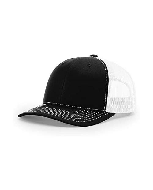 Richardson Unisex 112 Trucker Adjustable Snapback Baseball Cap Split Black/White One Size Fits Most
