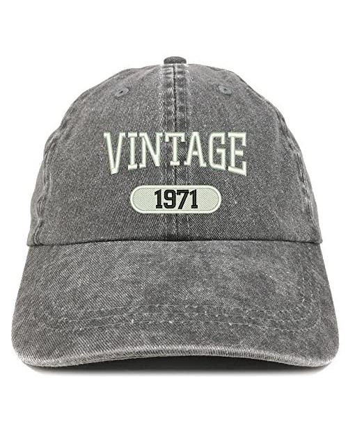 Trendy Apparel Shop Vintage 1971 Embroidered 50th Birthday Soft Crown Washed Cotton Cap