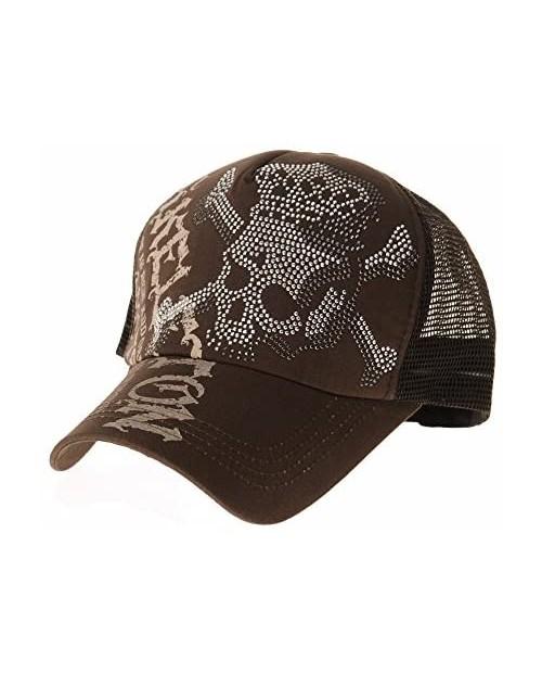 WITHMOONS Meshed Baseball Cap Skull Rhinestones Trucker Hat KR1751