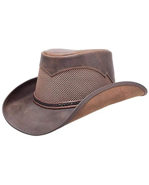 American Hat Makers Durango Leather Mesh Cowboy Hat — Handcrafted Breathable
