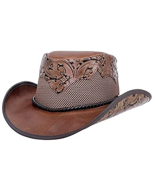 American Hat Makers Sierra Cowboy Hat — Handcrafted Genuine Leather UV Sun Protection