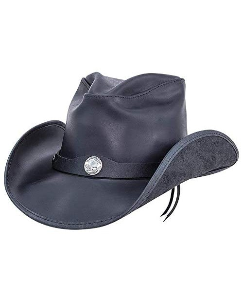 American Hat Makers Western Leather Cowboy Hat — Handcrafted UV Sun Protection