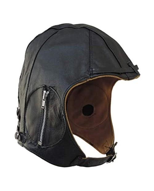 Aviator Black Leather Motorcycle Cap Vintage WWII Hat