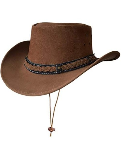 BRANDSLOCK Mens Suede Leather Down Under Cowboy Aussie Outback Hat