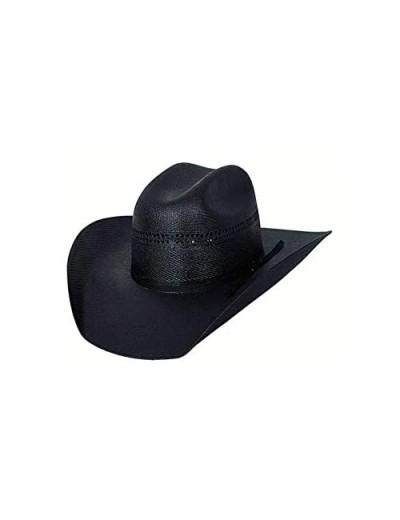 "Bullhide Hats Men's Black Gold 10x Linen Straw Western Cowboy Hat 4"" Brim 7 1/8"