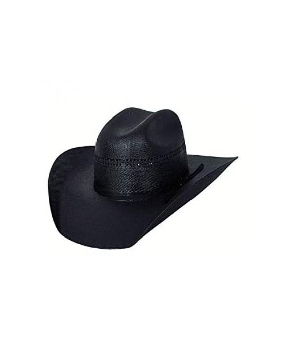 "Bullhide Hats Men's Black Gold 10x Linen Straw Western Cowboy Hat 4"" Brim 7 3/8"