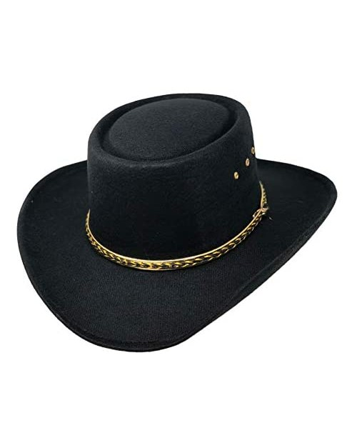 CHAPEAU TRIBE Faux Felt Gambler Hat with Elastic Band-Gold and Tiger Band