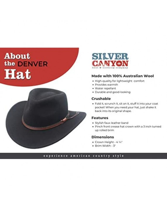 Crushable Outback Cowboy Western Wool Hat Silver Canyon