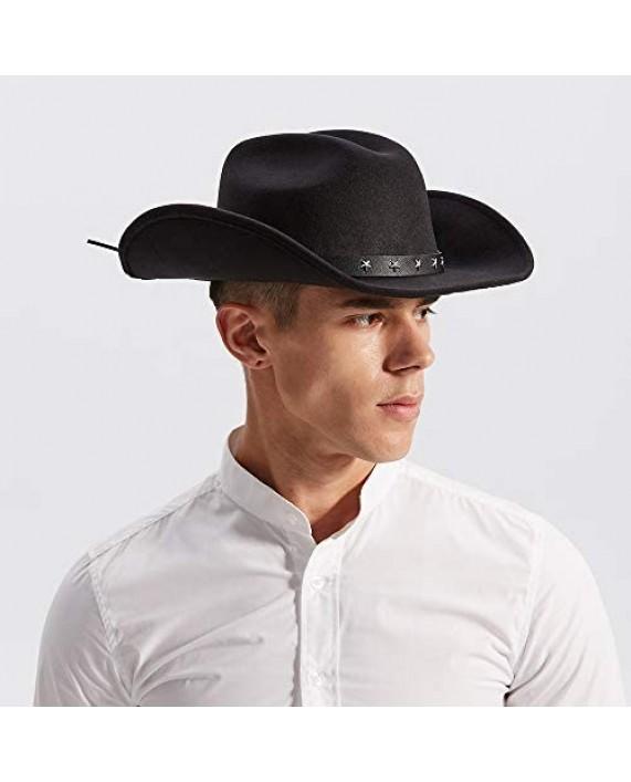 Daesan Western Cowboy Hats Cowgirl Sheriff Hat Wide Brim Felt Fedora Men Women Cosplay Costume