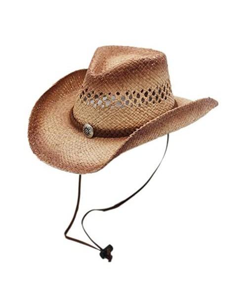 Raffia Straw Cowboy Western Sun Hat Chin Strap Silver Canyon Natural