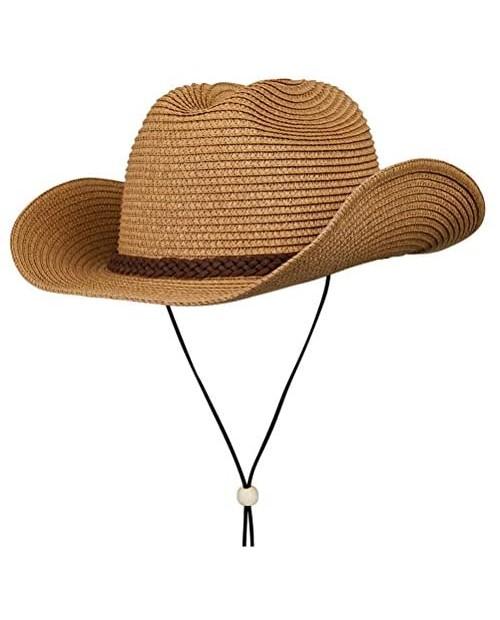Straw Cowboy Hat Summer Beach Panama Sun Hats Men & Women Wide Brim Cowgirl Fedora Western Theme Party Halloween