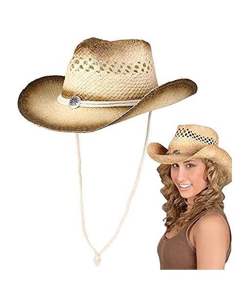 "The Dreidel Company Cowboy Straw Hat Western Vented Tea Stained Straw Cowboy Hat 20"" Adult Medium"