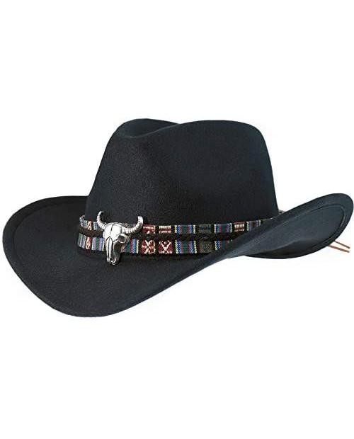 XYIYI Western Faux Felt Cowboy Hat for Men Wide Brim Fedora