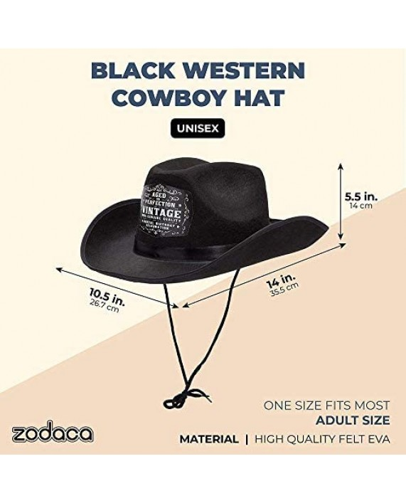 Zodaca Black Western Party Cowboy Hat for Men and Women Aged to Perfection (Adult Size)