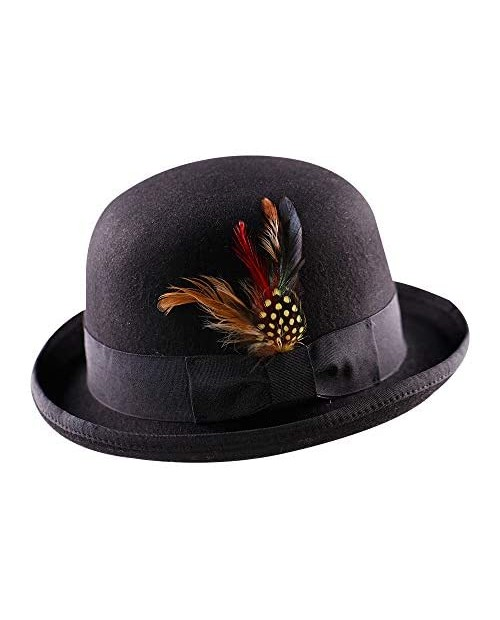 Anycosy Wool Derby Hat Felt Bowler Hats for Men Women Valentine's Day Gifts Costumes