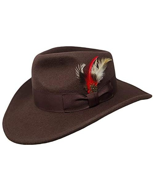 Different Touch Men's 100% Soft & Crushable Wool Felt Indiana Jones Style Cowboy Fedora Hats HE01