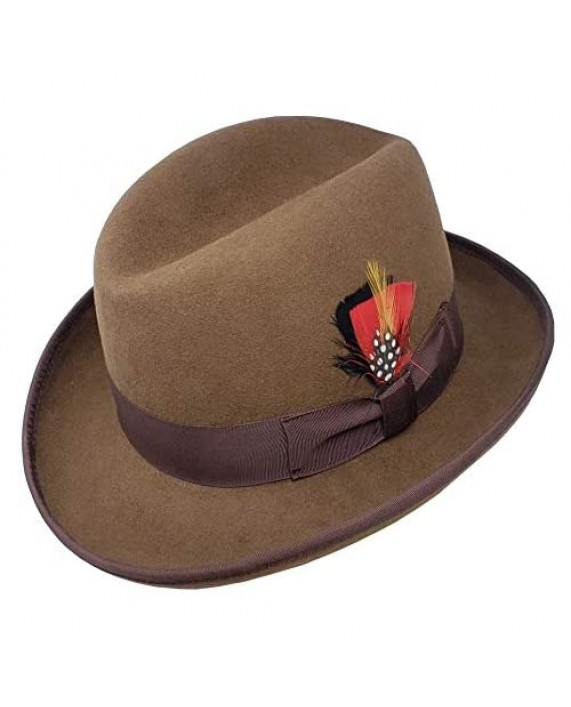 Different Touch Men's 100% Wool Felt Homburg Style Godfather Hats
