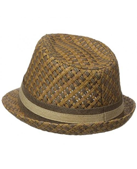 Henschel Men's Paper Straw Fedora with Two Tone Band