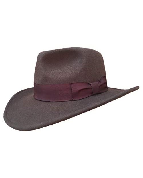 Indiana Wool Felt Crushable Cowboy Fedora Outback Hat Water Repellent