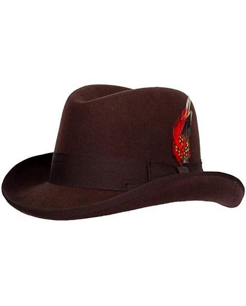 Levine Hats 9th Street Charles Firm Felt Homburg Godfather Hat 100% Wool