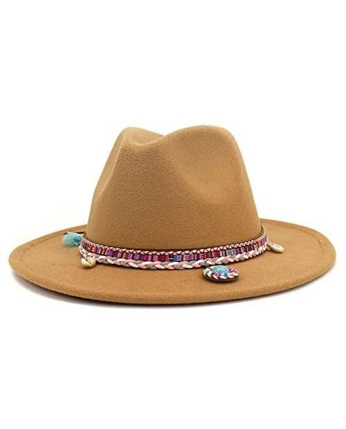 Lisianthus Men & Women Felt Fedora Vintage Wide Brim Panama Hats