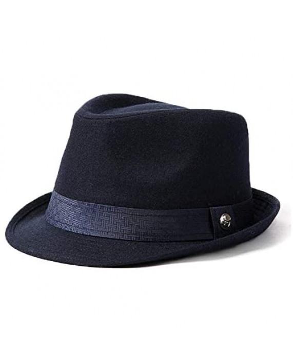 Mens Homburg Gangster Hat Wool Felt Fedora 1920s Derby Hat Frank Sinatra Manhattan Mafia Godfather Winter Navy Blue