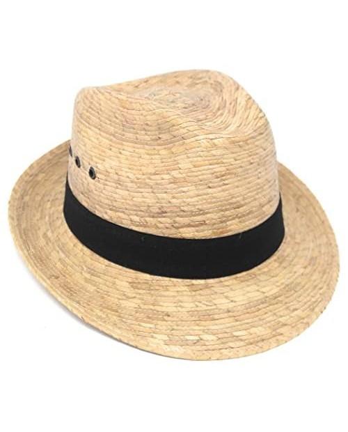 Mexican Palm Leaf Straw Hat Classic Cuban Style Upturn Brim Fedora for Men