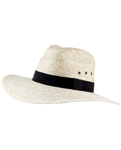 MEXIMART Mexican Palm Leaf Straw Indiana Wide Brim Hat Light Tan w/Grommets