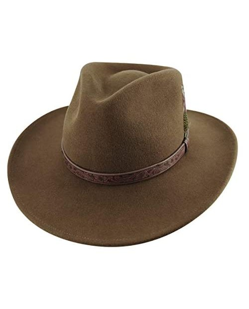 MIX BROWN Cowboy Hat Cowgirl Hat Crushable Wool Felt Outback Hat Classic Wide Brim Western Style Fedora Hat for Men Women