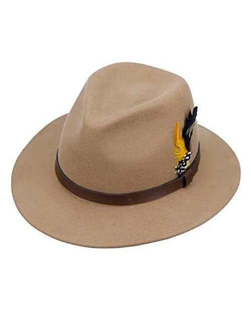 MIX BROWN Wool Felt Fedora Hat for Men Women Crushable Vintage Wide Brim Panama Trilby Hats with Belt Buckle