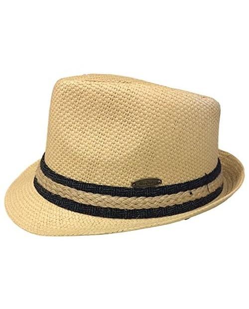 Panama Jack Solid Ribbon Fedora Hat with Black Band
