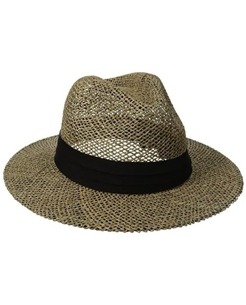 San Diego Hat Co. Men's Black Seagrass Panama Fedora Hat with Cloth Band