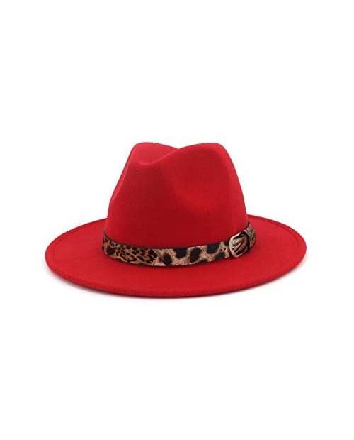 XINGZI Fashion Wool Blend Wide Brim Felt Fedora Hats Trilby Cap with Leopard Band