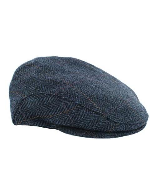 Biddy Murphy Tweed Cap Navy Herringbone Irish Made