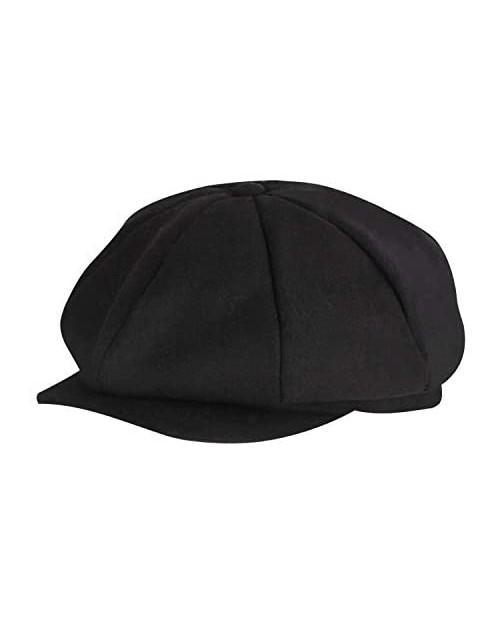 Classic 8 Panel Wool Tweed Newsboy Gatsby Ivy Cap Golf Cabbie Driving Hat